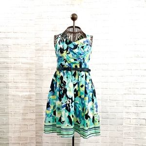 City Triangle Floral Navy & Teal Dress